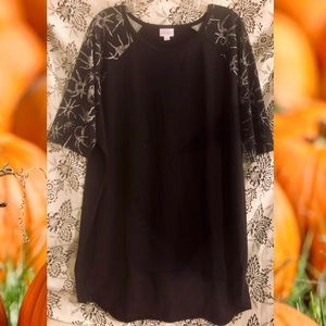 Lularoe Halloween black Irma spider sleeves Sz XL